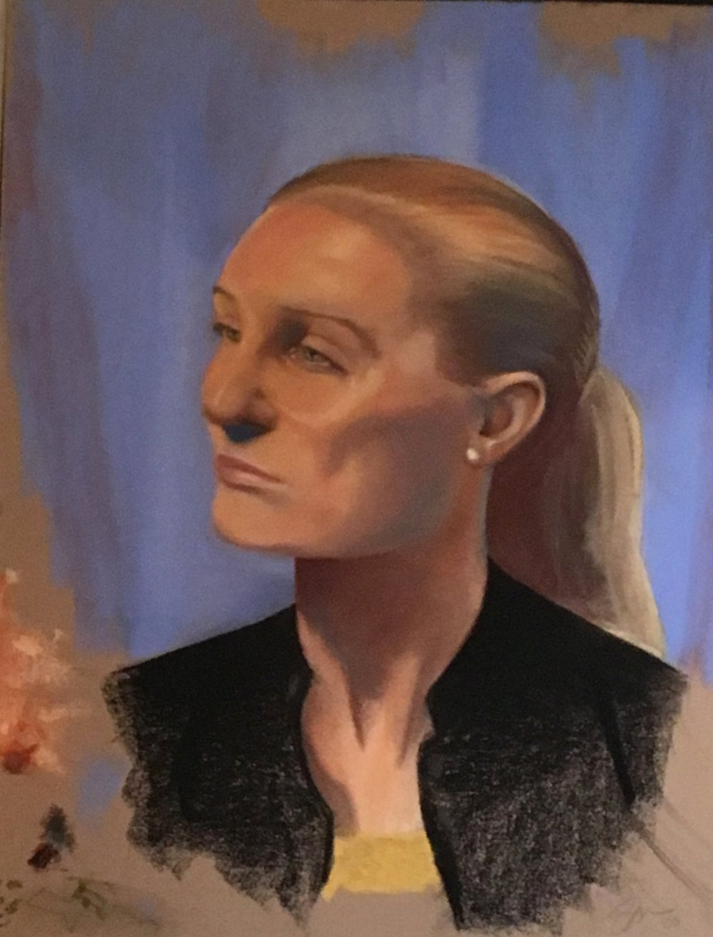 "Zamora, Gil. Blonde model in black. 2000. Chalk pastel on brown paper, 20"" x 25"". Private collection."