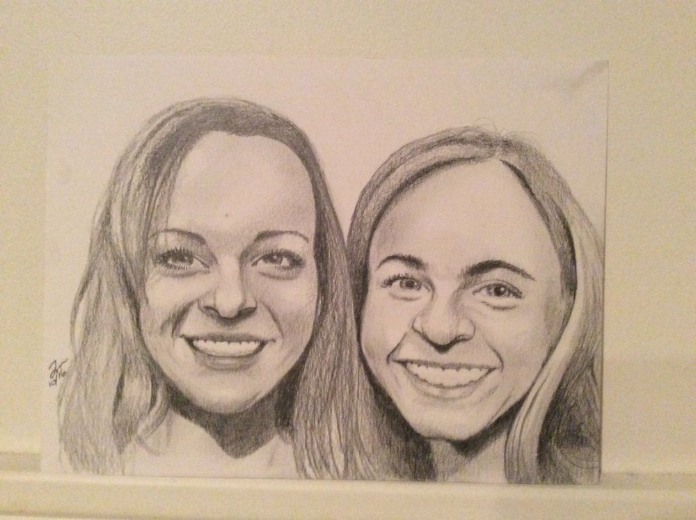 "Zamora, Gil.  Perspective sketch of Meghan and friend.  2016. Graphite on paper, 11"" x 14"". Dadiego private collection."