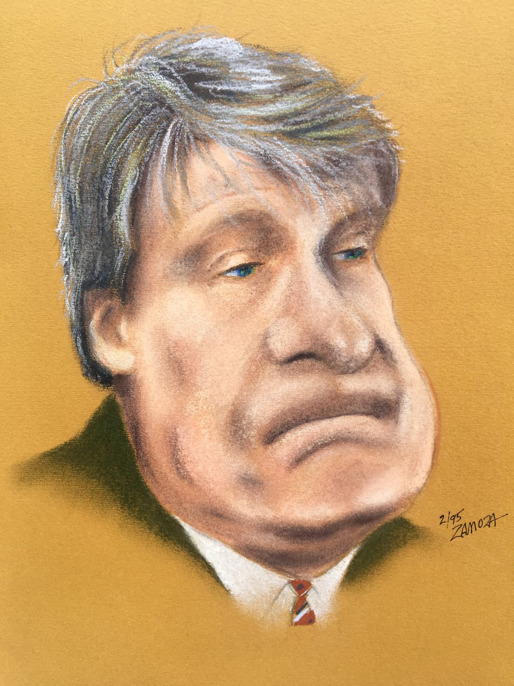 "Zamora, Gil. Caricature of  Don Nelson.  1995. Chalk pastel on colored paper, 12"" x 14"". Private collection."