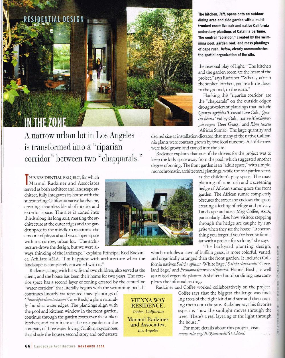 Landscape Architecture Magazine - Nov 2009