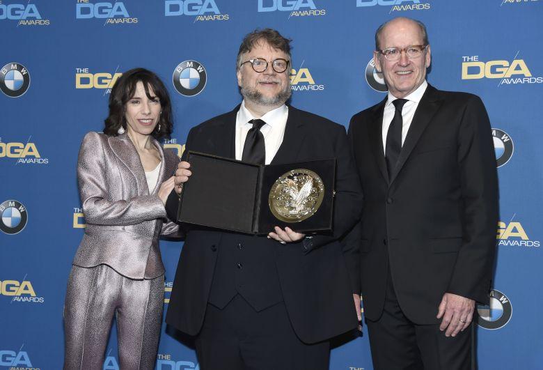 Oscar nominees Sally Hawkins and Richard Jenkins with DGA winner Guillermo del Toro