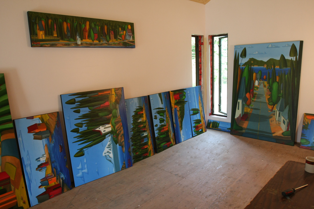 Prep work being done for the Aug 2012 exhibit on Mayne Island.