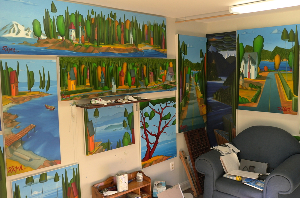 "Photos from the ""old"" Mayne Island ""shed"": a 9'x14' studio with a 7' ceiling. As I prepared for my Aug 2012 exhibit on Mayne Island, my ""new"" studio was being built, thus my drying work had to be squished onto the walls here.  Hence, note the diminishing wall space."