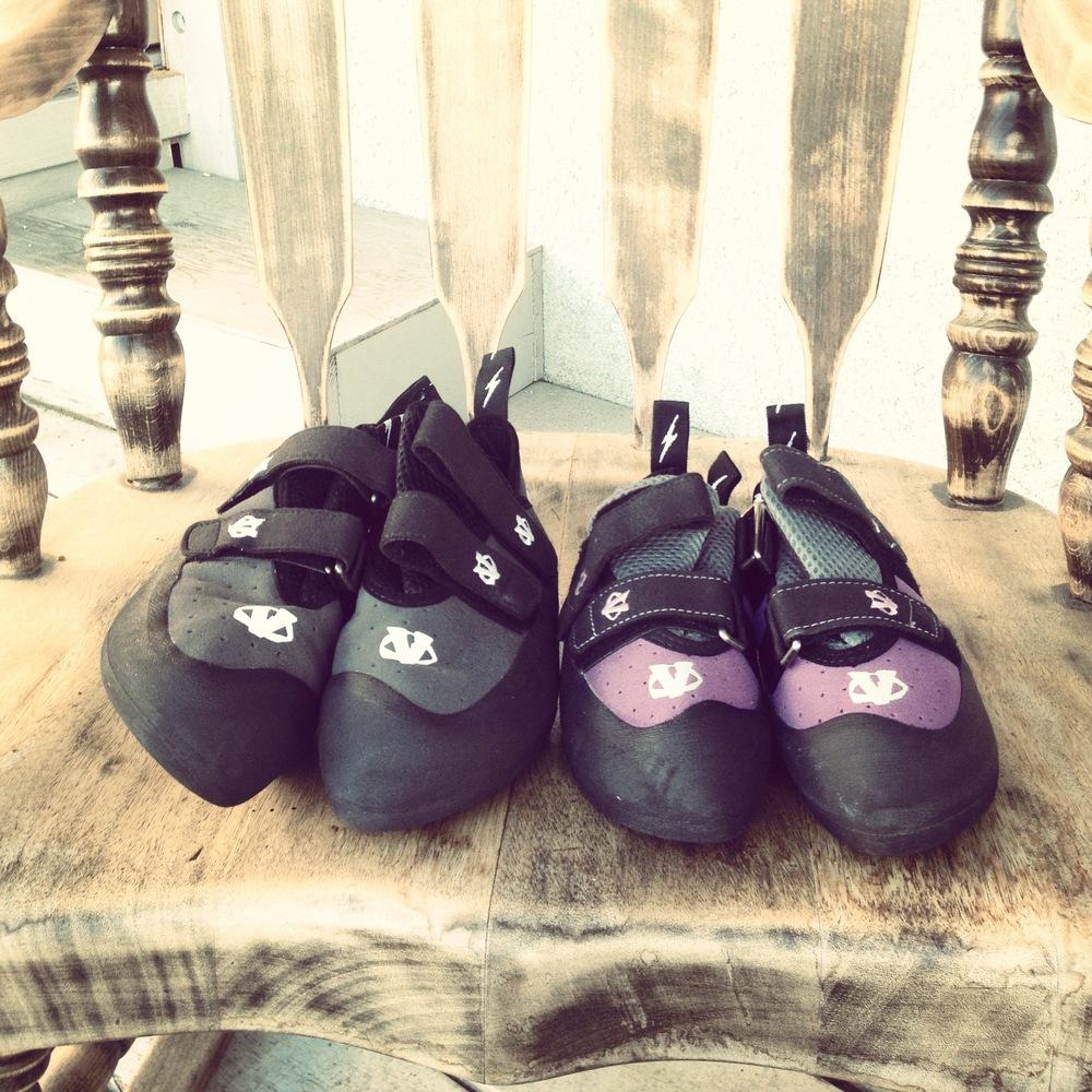 Britt & I - New Climbing Shoes.JPG
