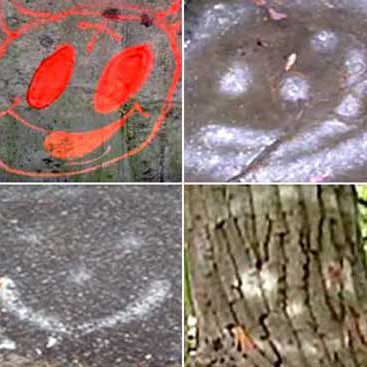 A collage of the graffiti from around the crime scenes