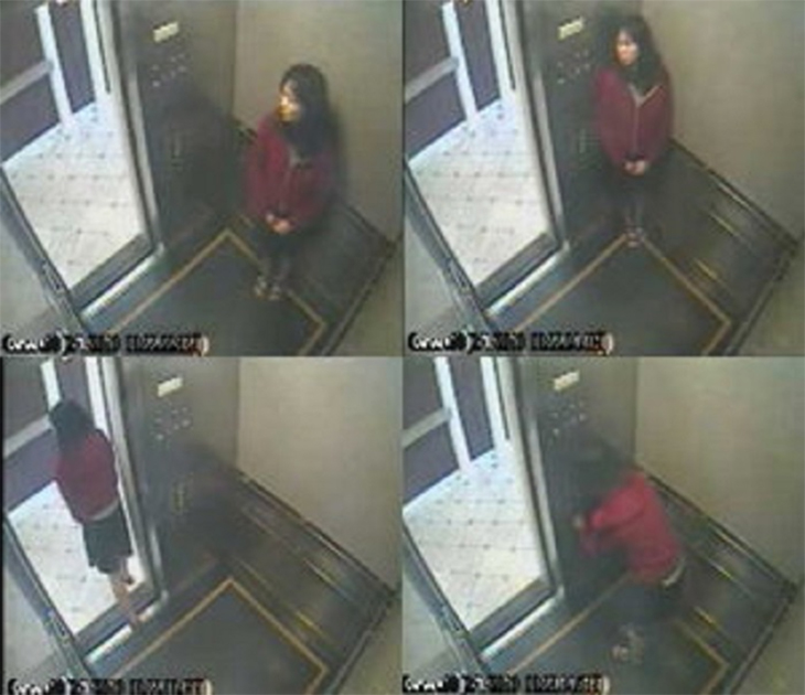 Elisa Lam was a Canadian tourist visiting Los Angeles. She stayed at the infamous Cecil Hotel where she was reported to have been missing for days before the discovery of her body inside one of the water tanks on the hotel's rooftop. Before she was reported missing, she was captured by the hotel's elevator surveillance camera. She seemed scared and she looked like she was hiding from someone. Her mysterious death remains unsolved to this day.  Read More: http://www.trueactivist.com/worlds-most-mysterious-and-unexplained-photos-gallery/20/