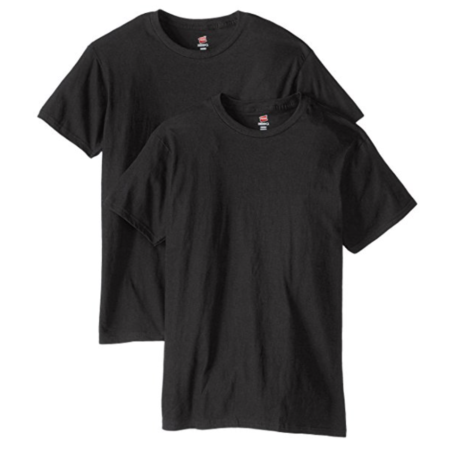 Black Tee-Shirts, Crew Neck  Buy on Amazon   The 'after hours' cousin of the plain white tee-shirt, the plain black tee-shirt serves the same function but projects an entirely different mood. Again, I think Hanes makes the softest and most durable plain tees.