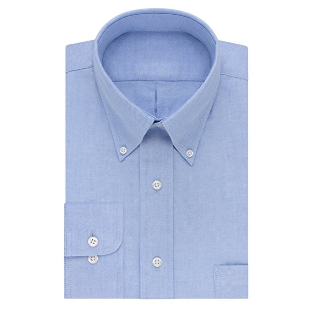 L. Blue Oxford Button-Down  Buy on Amazon   Light blue is a very popular color for Oxford button-downs, and for good reason: it's the next safest color next to white. It also looks great against dark colors without the fear of having to wear solid white.