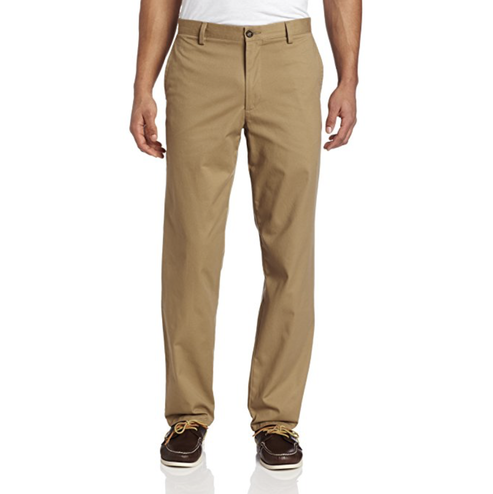 Dark Tan Khakis/Chinos  Buy on Amazon   There's technically a difference between khakis and chinos, but the difference is minimal, so don't worry about it. You want a pair in a dark tan color as pictured -- versatile like jeans, but a little dressier.