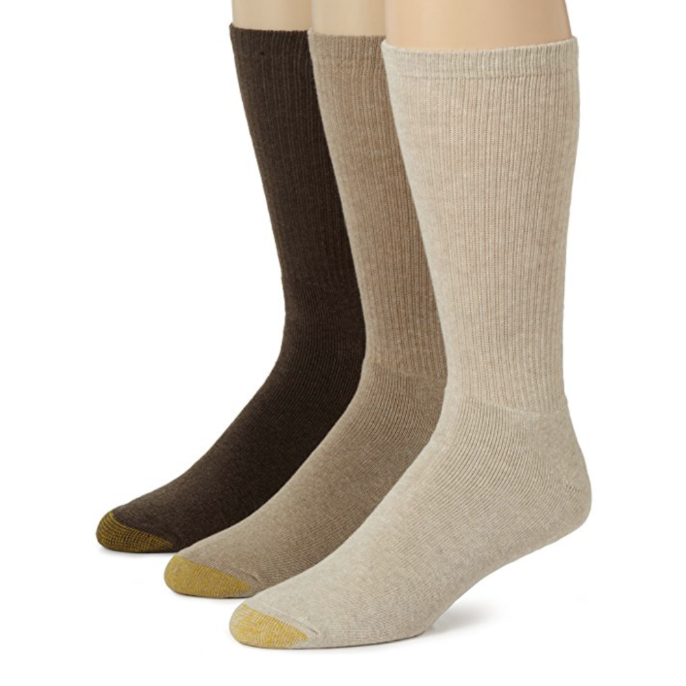 Socks (Various Colors)  Buy on Amazon   You should generally have three types of socks: white (goes with jeans), black (goes with black chinos), and tan (goes with tan chinos). Treat yourself and buy Gold Toe ones, they're super comfy.