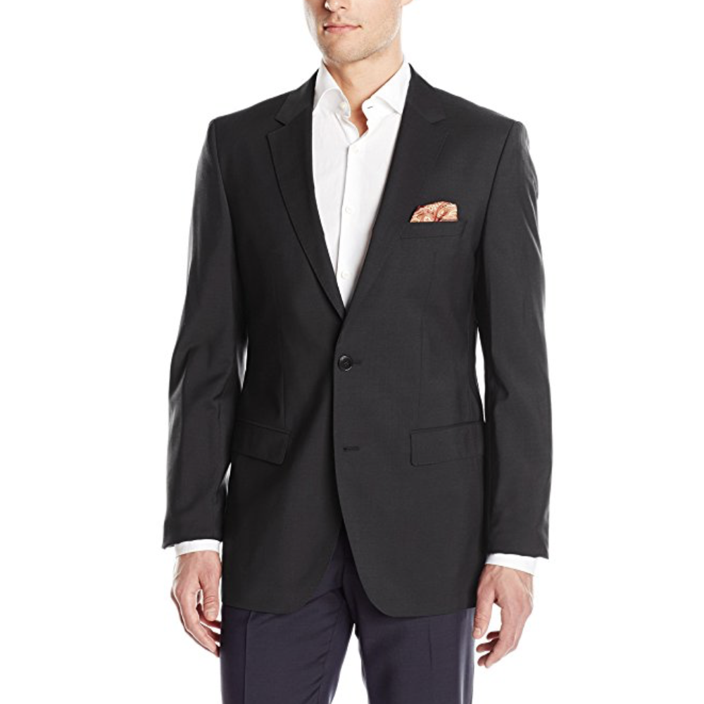 Black Suit Jacket  This is one of two items on the list you'll want to buy in person somewhere (JC Penneys has low-cost, good quality suit jackets) because suit jacket sizing can be tough if you've never bought one. Buy in black.