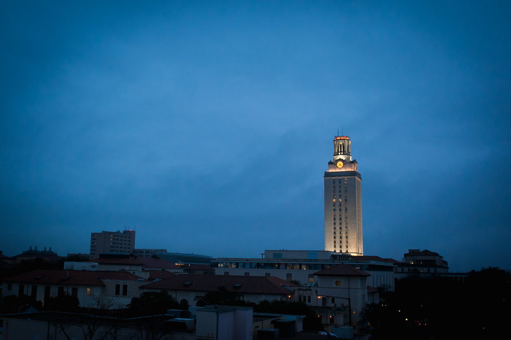 The University of Texas tower very early in the morning.