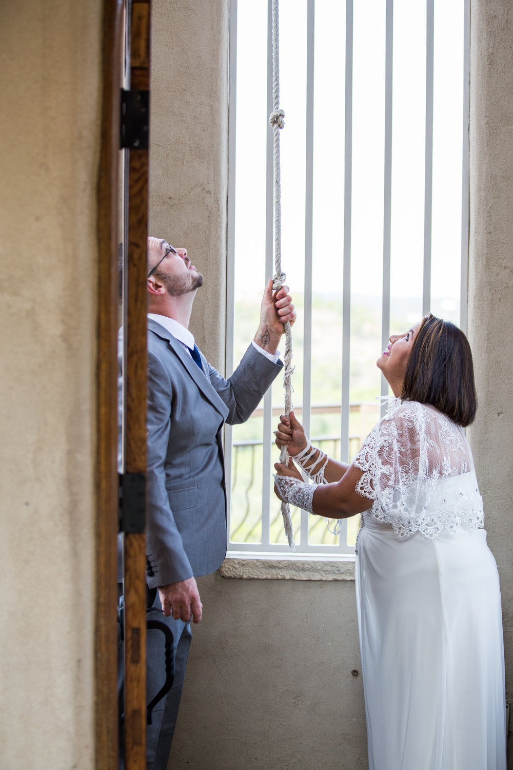 It's tradition for couples to ring the chapel bell immediately after getting married.