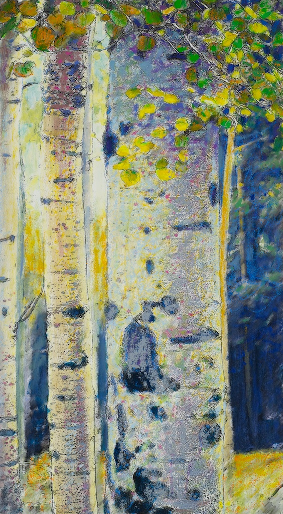 Autumn Aspens II   | mixed media on paper | 25 x 14"