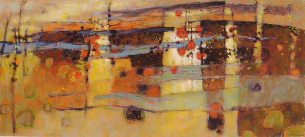 Across Distances   | pastel on paper | 18 x 40"
