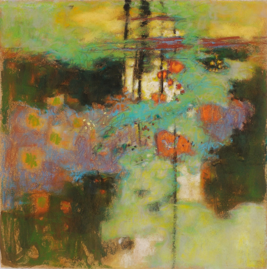 Turquoise Mist   | pastel on paper | 14 x 14"