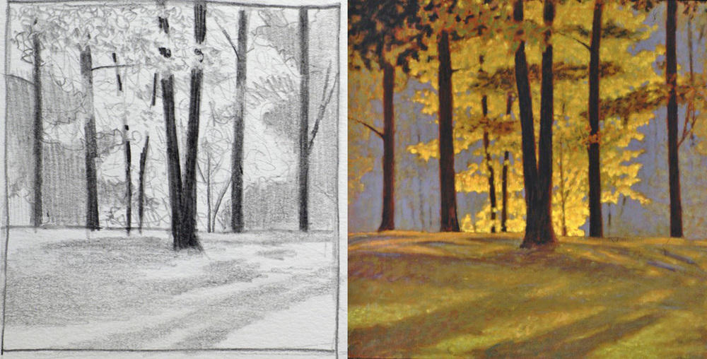 sketch and completed oil painting, 1981