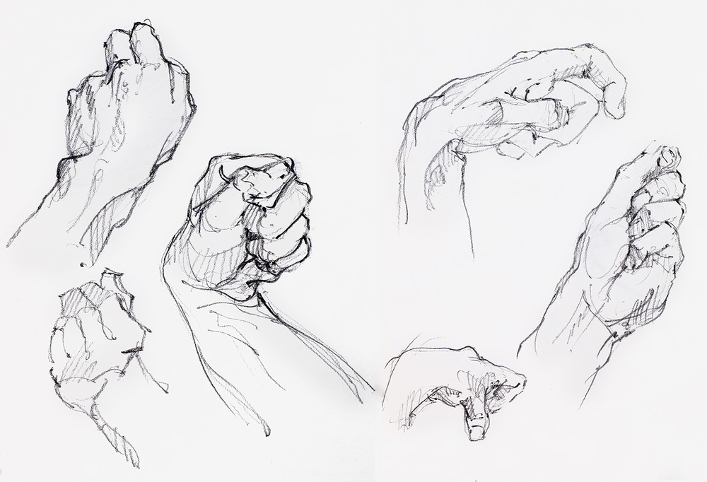 some hand studies sketched by Rick Stevens when he was a student