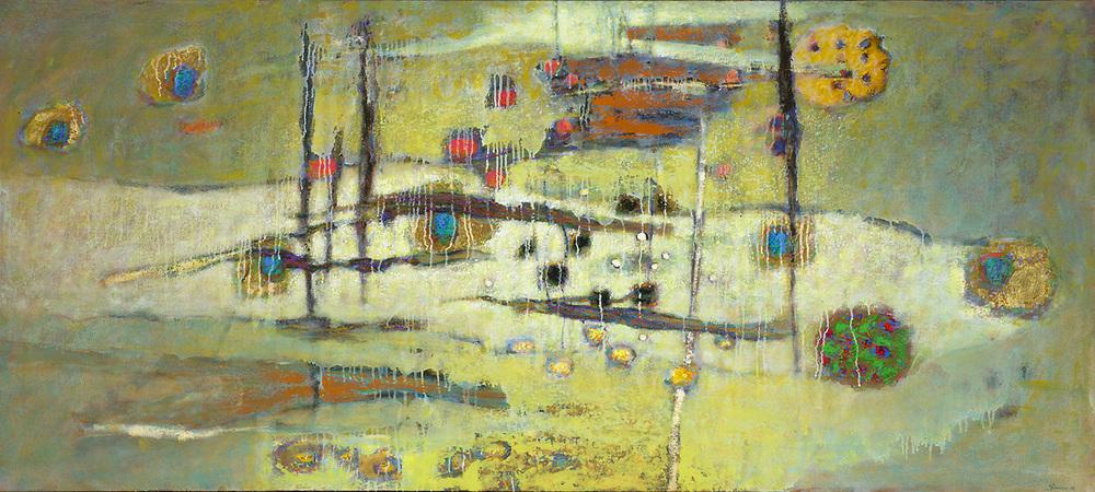 "Stillness In Motion | oil on canvas | 36 x 80"" | 2014"
