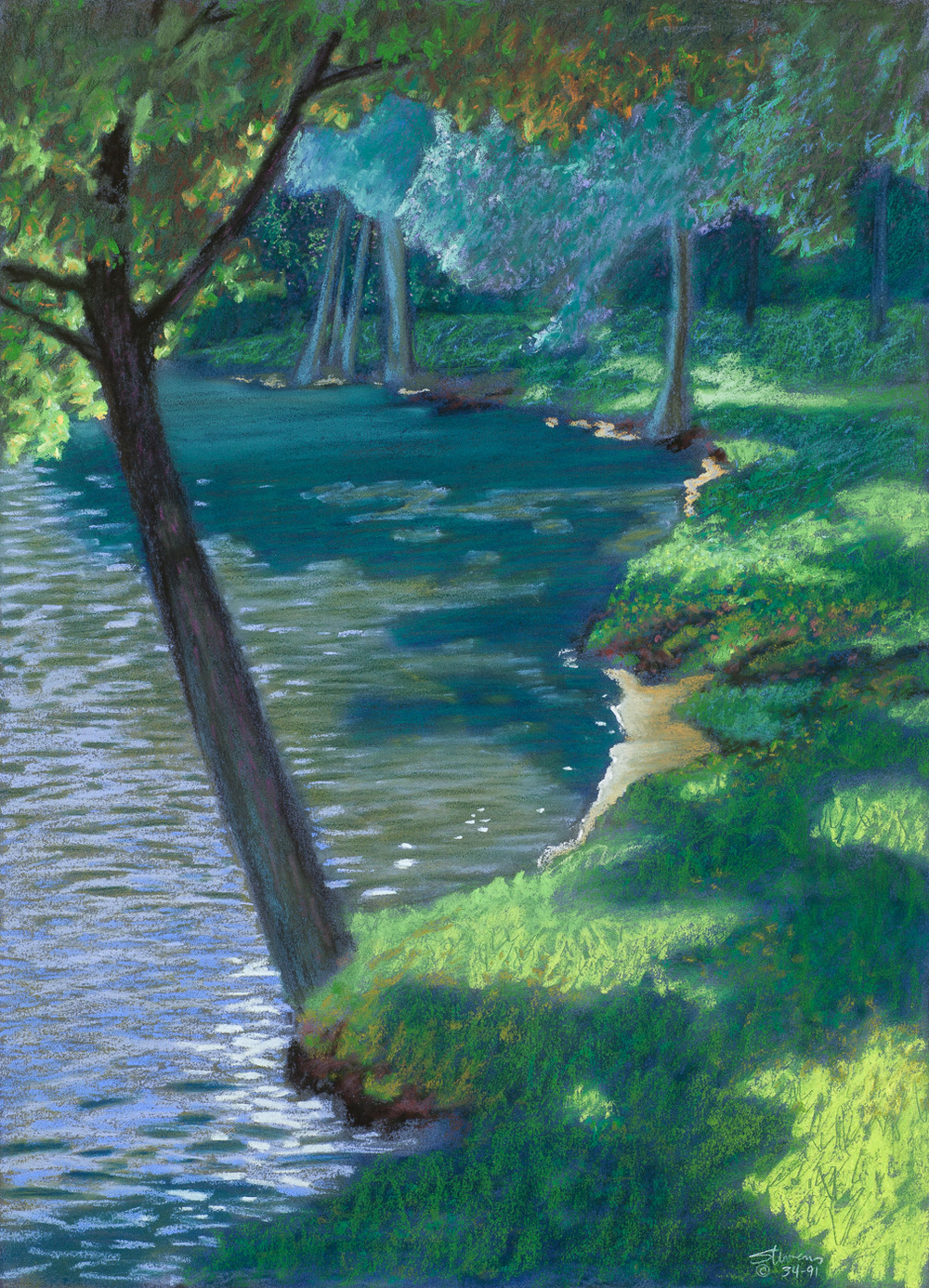 Crockery Lake Shore | pastel on paper | 21 x 15"