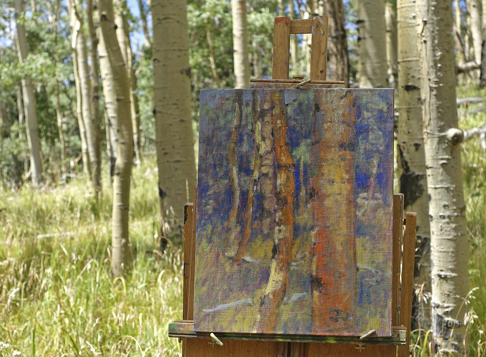Another painting under way in the Aspens of Santa Fe