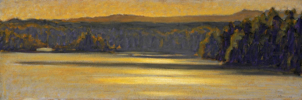 Morning Haze on Hodenpyl   | oil on canvas | 10 x 30"