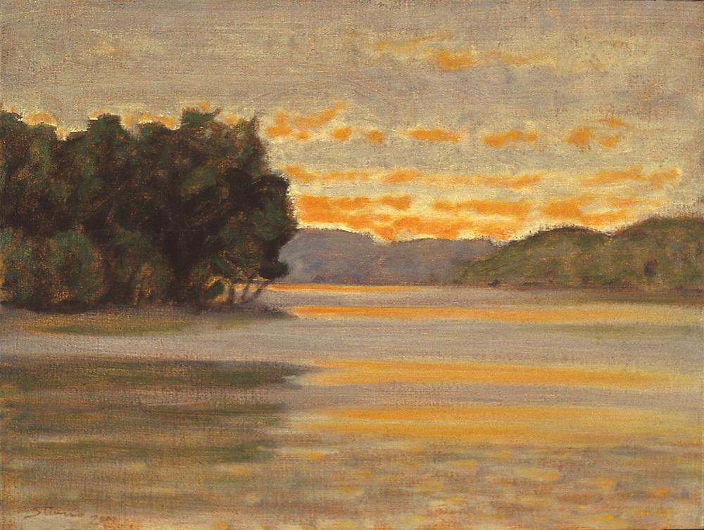 "Long Lake, 2000   | oil on canvas | 12 x 16"" | 2000"