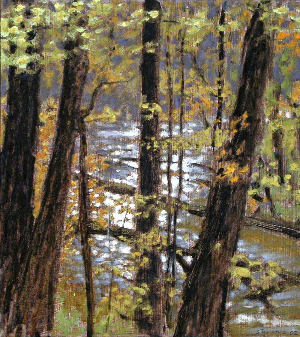"Cedar Creek   | oil on canvas | 13 x 12"" | 2002"