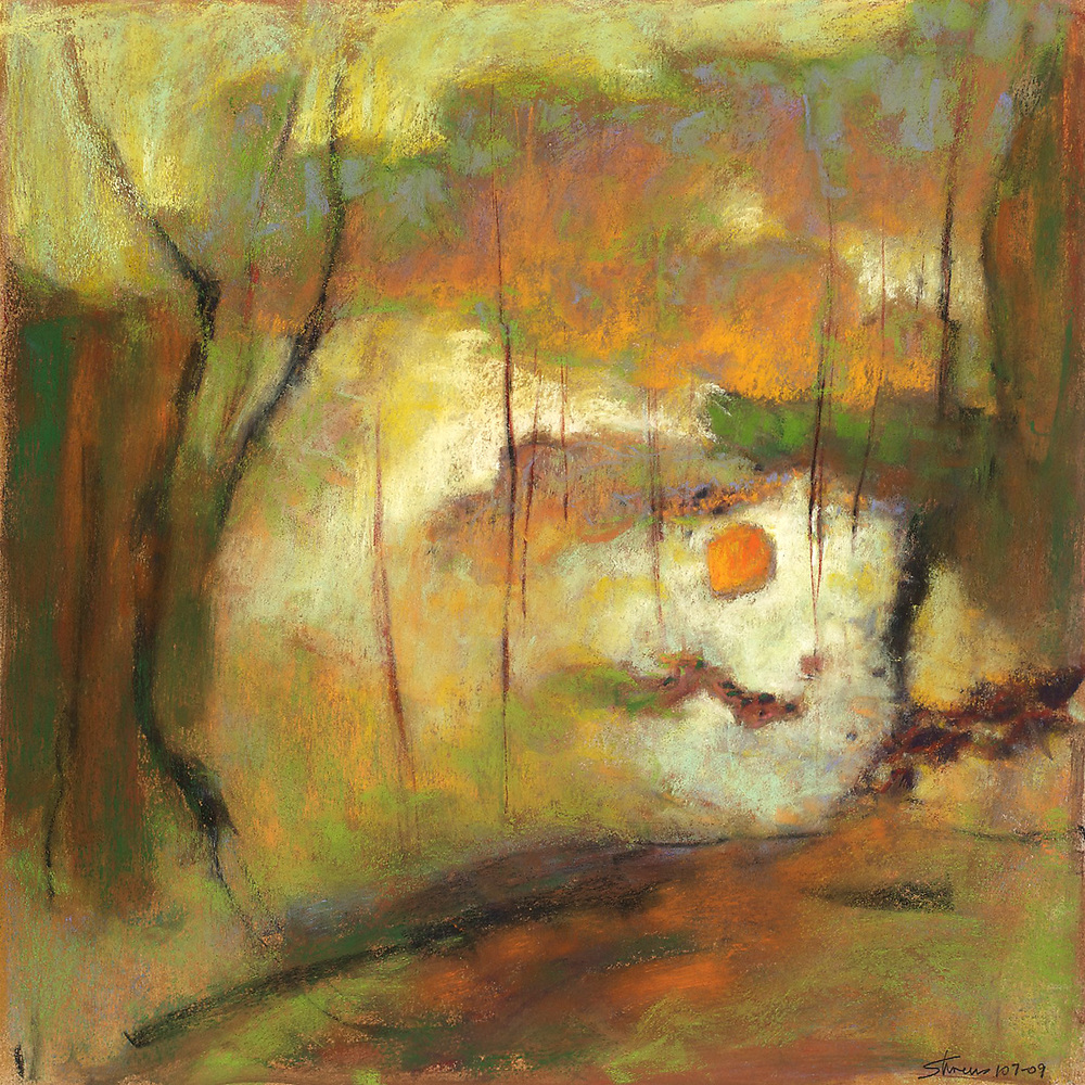 Rhapsody in Orange and Green   | pastel on paper | 14 x 14"