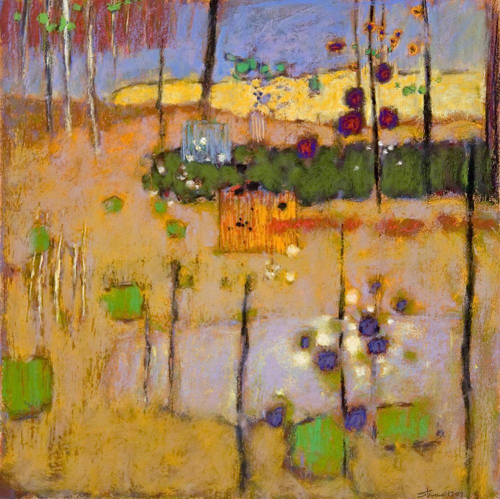 "Softly Inhabited   | pastel on paper | 18 x 18"" | 2007"