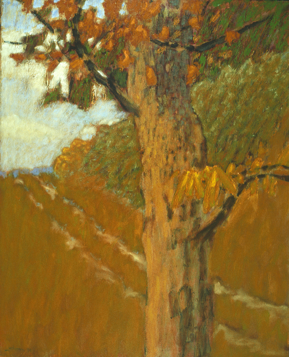 Tree With Two Track | acrylic on paper | 30 x 24"