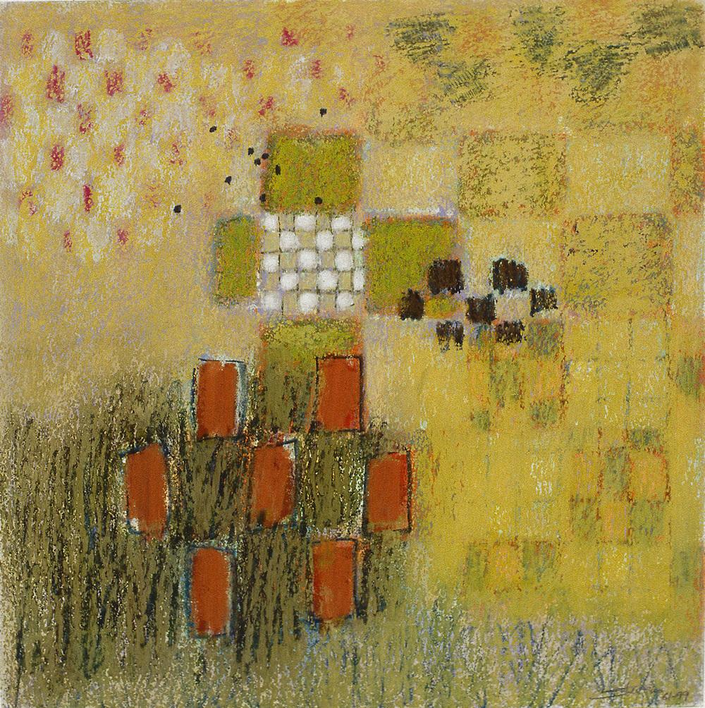 "61-99   | oil pastel | 12 x 12"" | 1999"