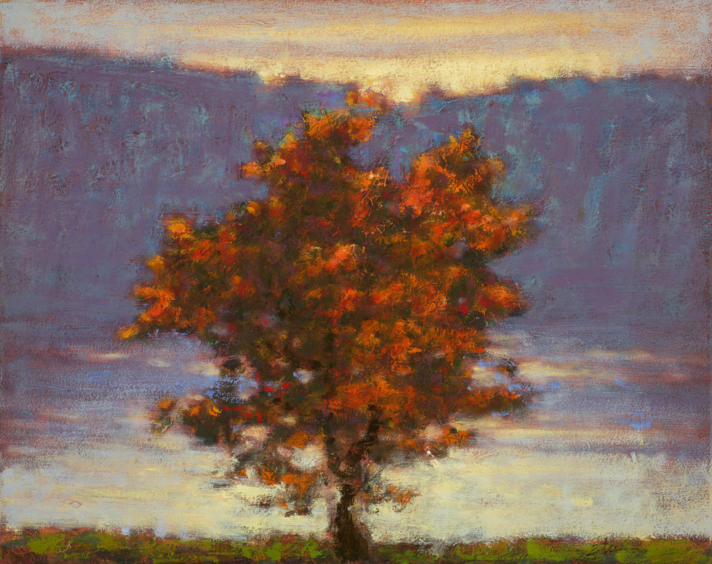 Red Tree by Lake   | oil on canvas | 12 x 15"
