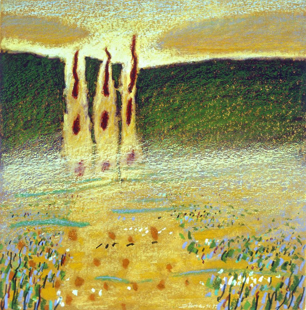 "35-97   | oil pastel | 12 x 12"" | 1997"