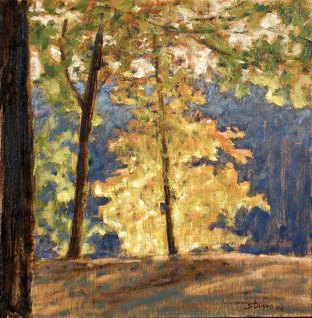 "Trees Along the Shore   | oil on linen | 12 x 12"" | 2004"