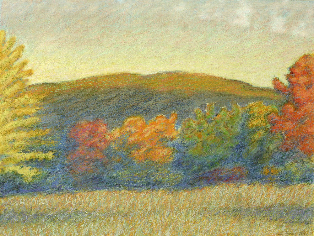 "Autumn Color on Blue   | oil pastel | 15 x 20"" 