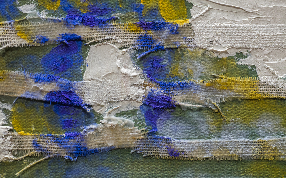 detail of new painting in early stages at the studio