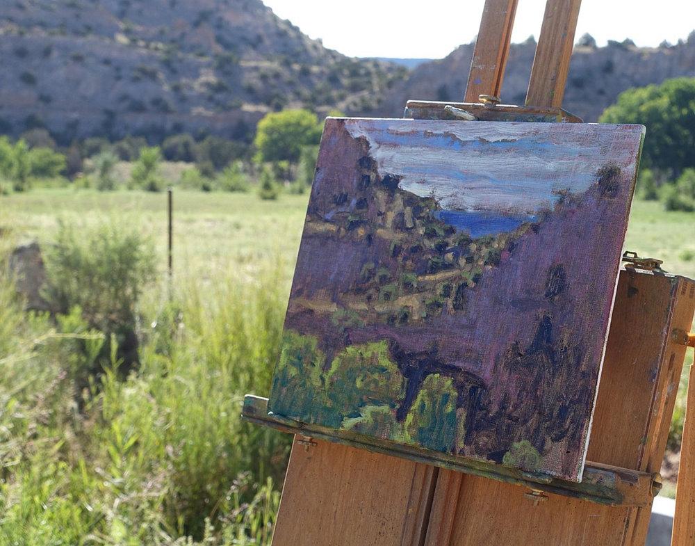 plein air work in progress at Ghost Ranch in Abiquiu, NM