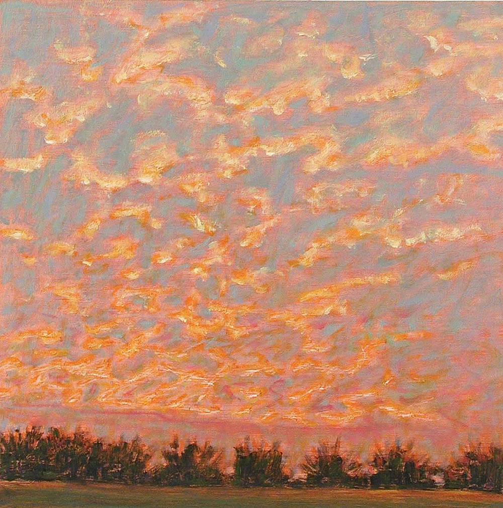 Sunset Over Orchard   | oil on paper | 14 x 14"