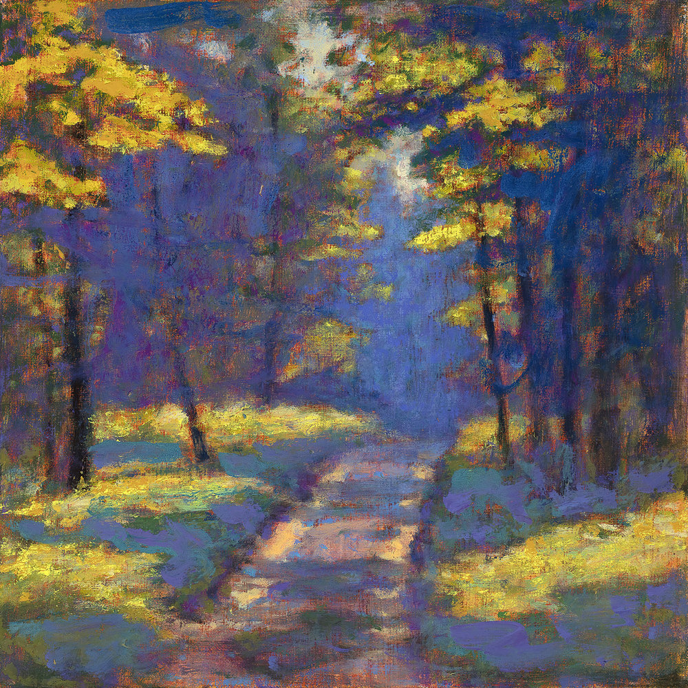 Road Through the Forest | oil on linen | 12 x 12""