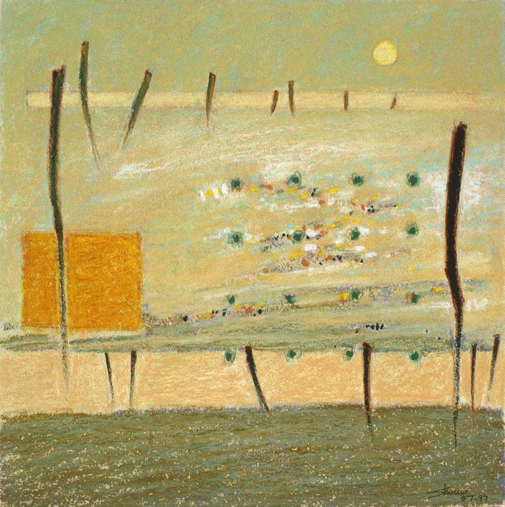 "57-97 | oil pastel | 12 x 12"" | 1997"