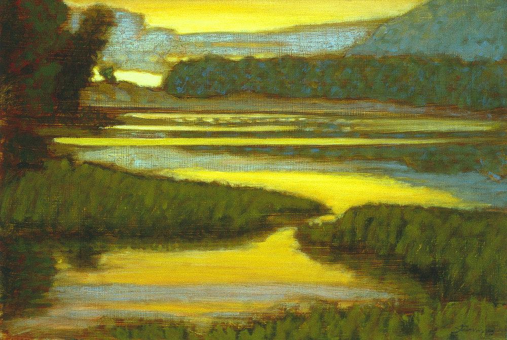 "North Bar Lake, Evening  | oil on panel | 12 x 18"" | 1995"