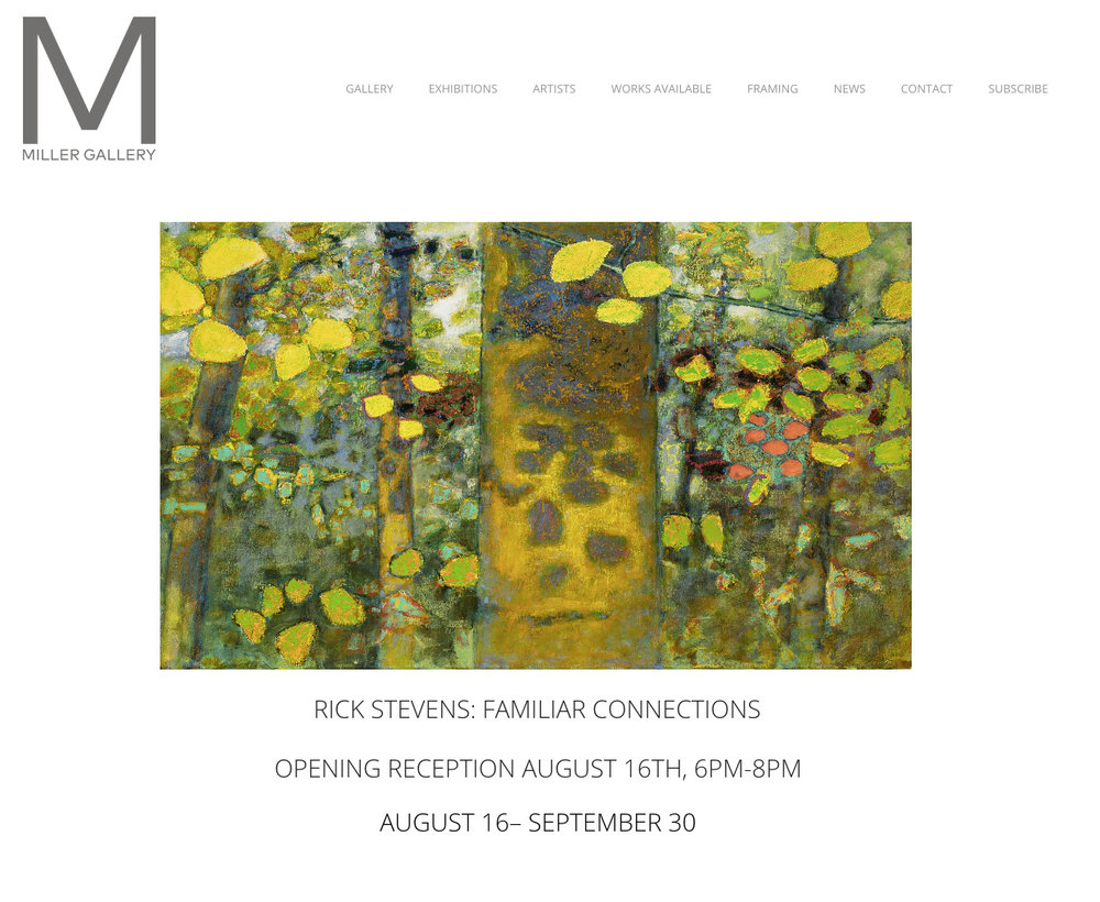 Rick's latest solo exhibition opens August 16th at Miller Gallery in Cincinnati, OH