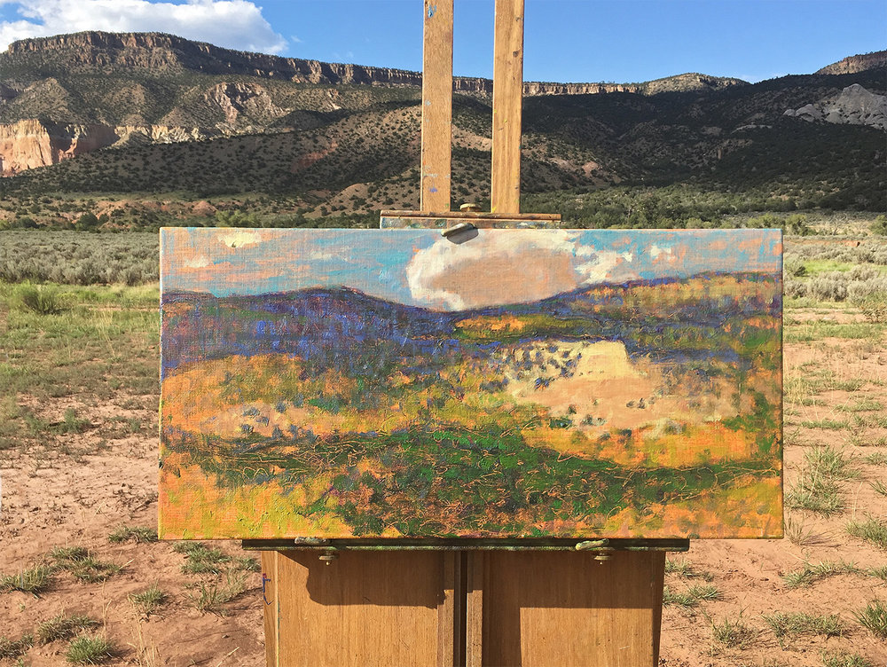 Plein air painting in progress in Abiquiú, NM