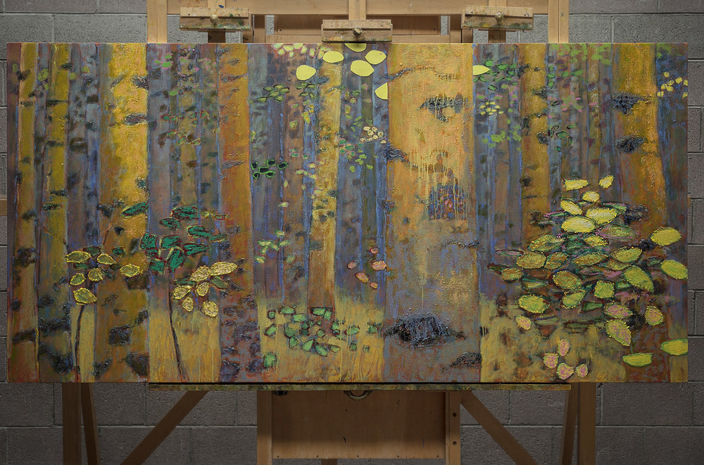 "48 x 96"" painting in progress at the studio in Santa Fe, NM"