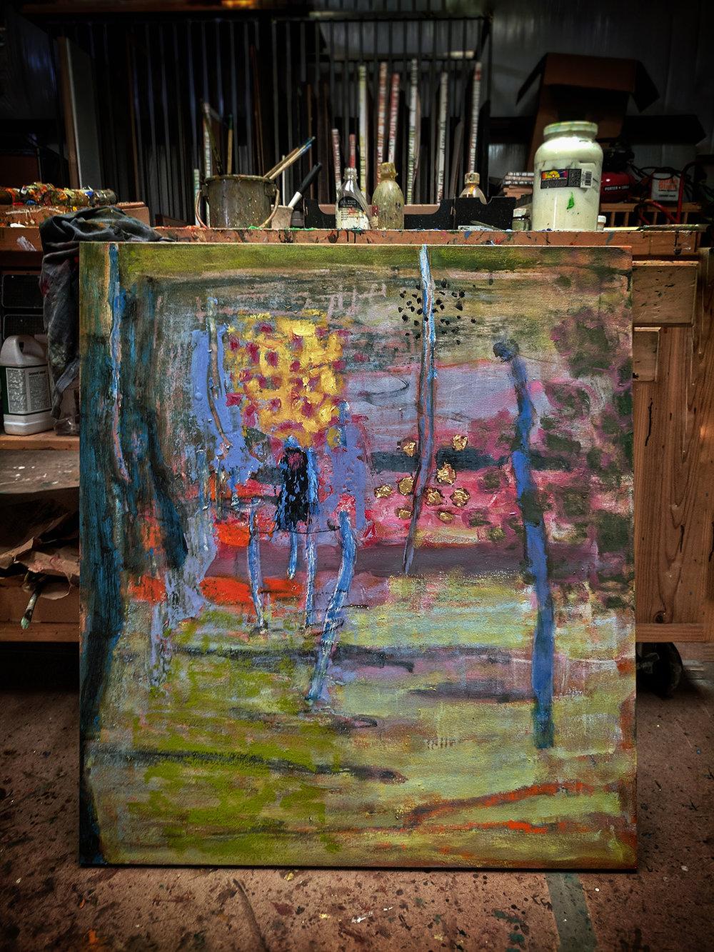oil painting in progress at the studio in Santa Fe, NM