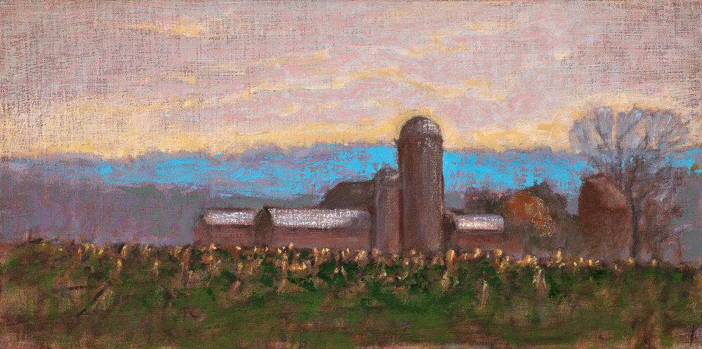 November Farmscape | oil on linen | 10 x 20""