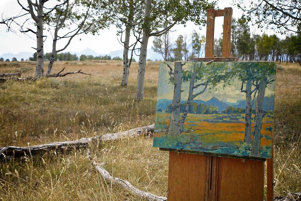 Plein air piece in progress in Telluride, Co