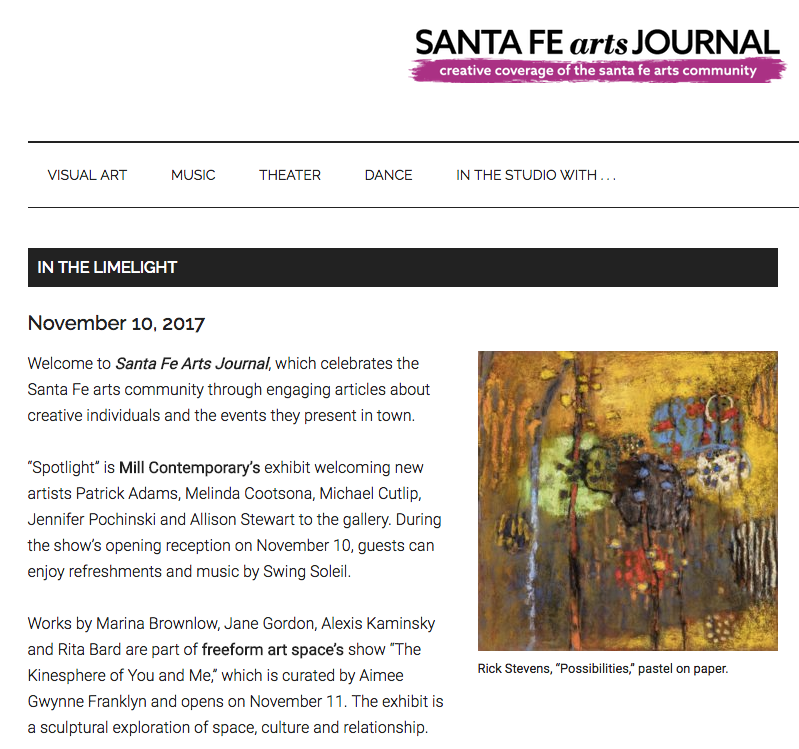 "Thank you to Emily Van Cleve, and the Santa Fe Arts Journal for featuring Rick's artwork on their ""in the Limelight"" Column"