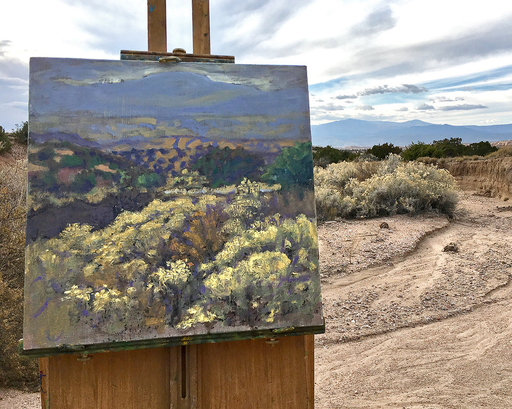 plein air painting in progress in New Mexico